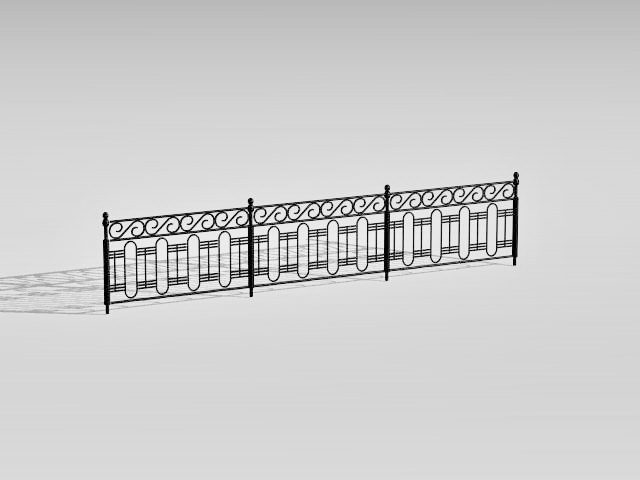Decorative guard rail fence 3d rendering