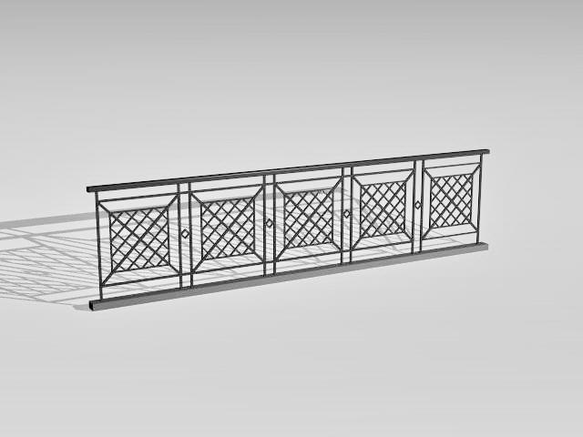 Pedestrian safety railing 3d rendering
