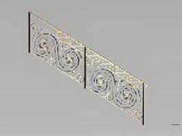 Brass stair handrails 3d preview