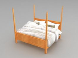 Modern wood four poster bed 3d preview