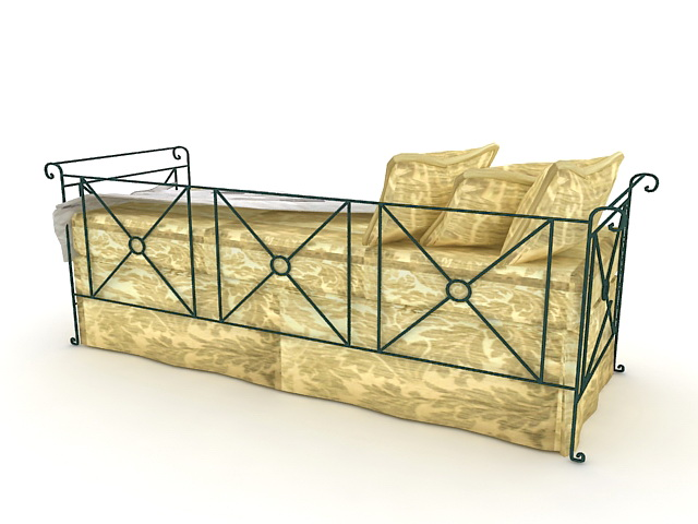 Metal daybed 3d rendering