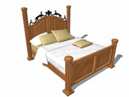 Rustic antique wood bed 3d preview