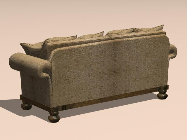Vintage loveseat sofa 3d rendering