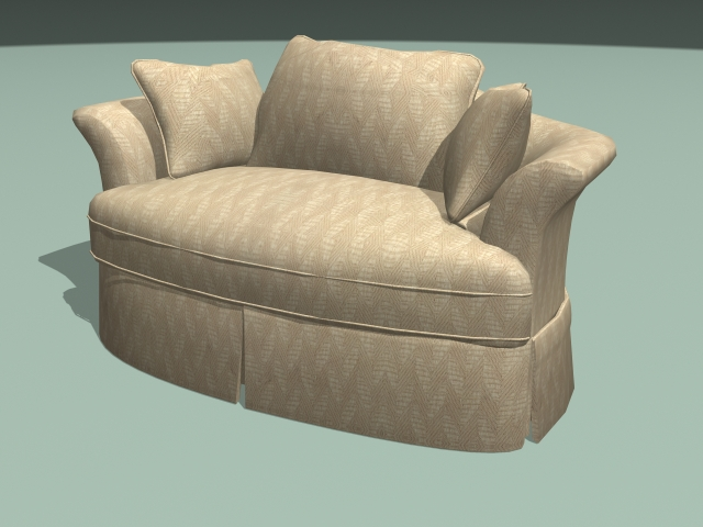 Fabric sofa loveseat 3d rendering