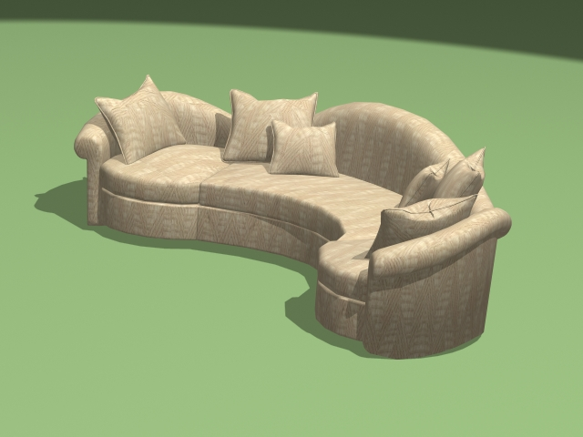 Modern curved sectional sofa 3d rendering