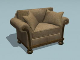 Upholstered sofa chair 3d preview