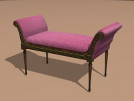 Vintage settee bench 3d preview