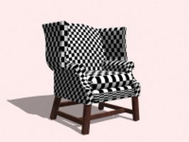 Plaid wingback chair 3d preview