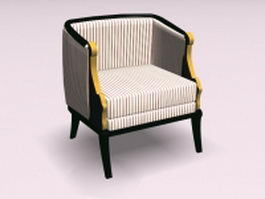 Striped armchair 3d preview