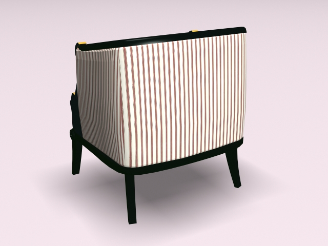 Striped armchair 3d rendering