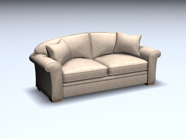 Hardwood cushion loveseat 3d rendering