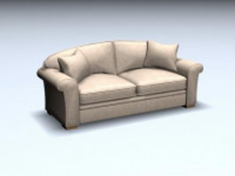 Hardwood cushion loveseat 3d preview