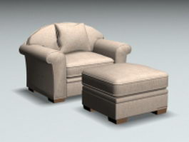 Fabric armchair and ottoman 3d preview