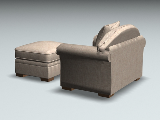 Fabric armchair and ottoman 3d rendering