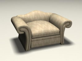 Upholstered club chair 3d preview