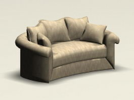 Curved loveseat 3d preview