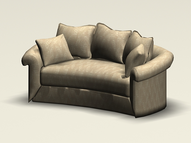 Curved loveseat 3d rendering