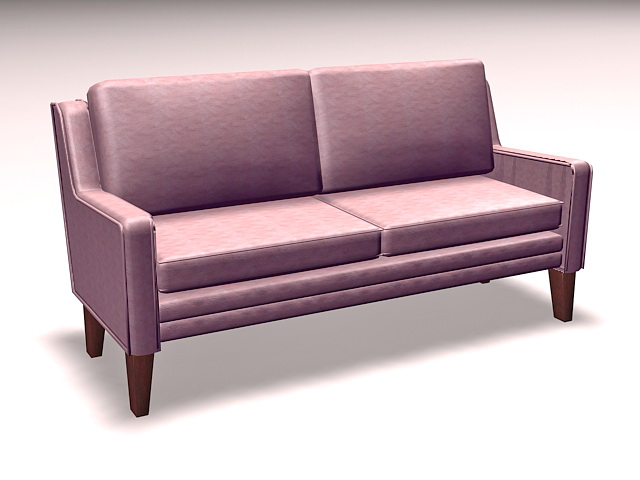 Upholstered settee loveseat 3d rendering