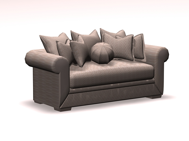 Upholstered sofa loveseat 3d rendering