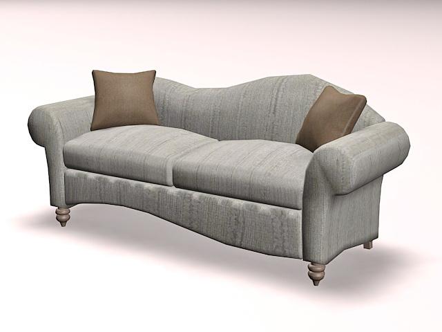 Vintage modern sofa loveseat 3d rendering