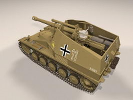 Wespe self-propelled artillery 3d model preview