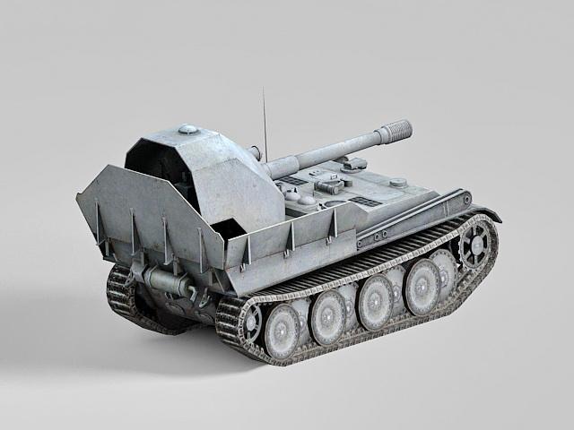 Anti-Tank assault gun vehicle 3d rendering