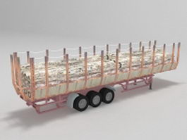 Forestry trailer truck 3d preview