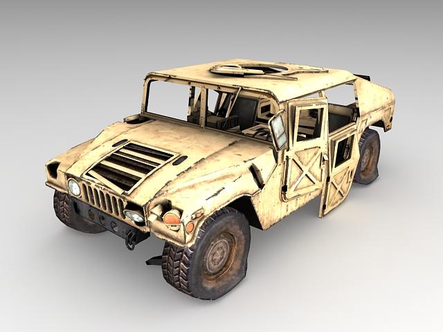 Old Hummer H1 with damaged 3d rendering