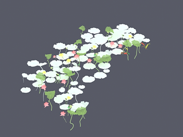 White water lily 3d rendering