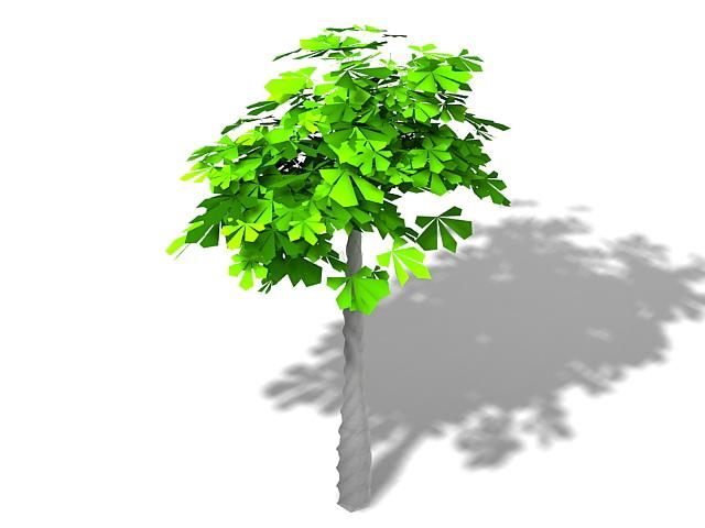 Braided trunk houseplant 3d rendering