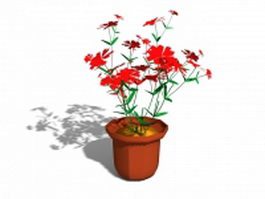 Potted plant flowers 3d model preview