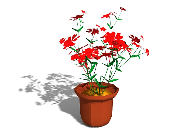 Potted plant flowers 3d rendering