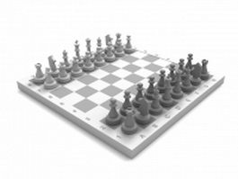 Chess set 3d model preview
