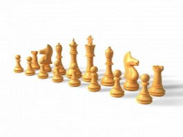 Chess pieces 3d preview