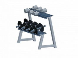 Dumbbell rack with weights 3d preview