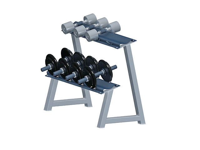Dumbbell rack with weights 3d rendering