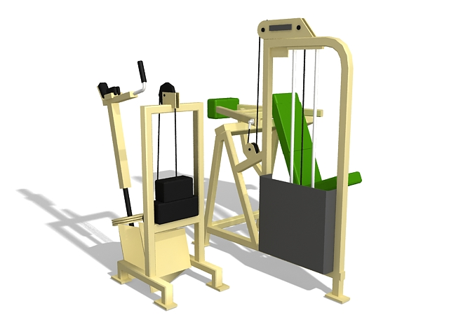 Gym exercise equipment 3d rendering