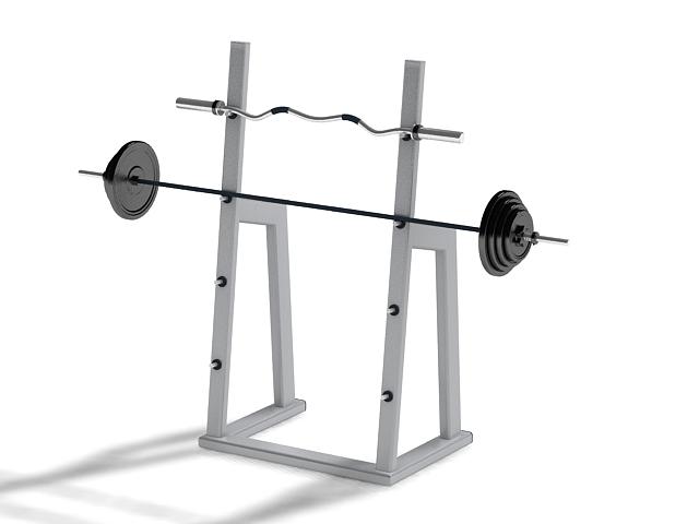 Barbell squat rack 3d rendering