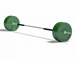 Barbell with weights 3d preview