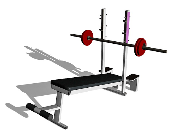 Barbell weight set and bench 3d rendering