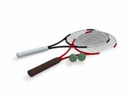 Tennis rackets and balls 3d preview