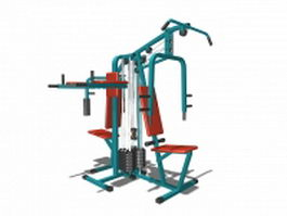 Multi station gym equipment 3d preview