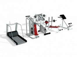 Gym exercise equipment collection 3d preview