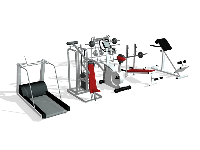 Gym exercise equipment collection 3d rendering