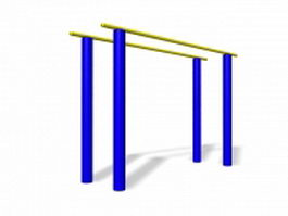 Parallel bars playground equipment 3d preview