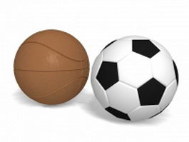 Basketball and soccer ball 3d preview