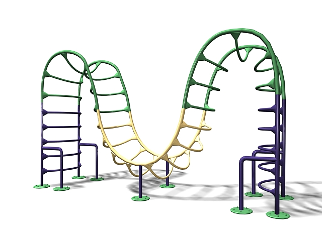Outdoor playground climbing equipment 3d rendering