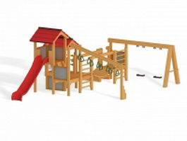 Wood play set 3d preview