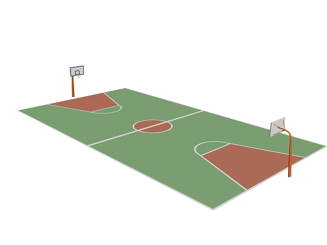 Outdoor basketball court 3d rendering