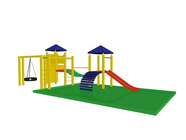 Kids outdoor play equipment 3d rendering